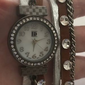 Vintage Gun Metal and Crystal Wrap Watch
